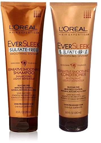L'Oreal Paris EverSleek Sulfate-Free Smoothing System Reparative Smoothing, DUO Set Shampoo + Conditioner, 8.5 Ounce, 1 Each (Loreal Sulfate)