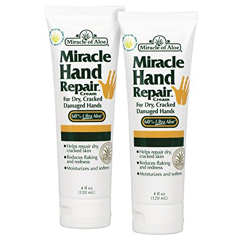 Miracle Hand Repair Cream 4 Oz - 2 Pack Lotion Relieves Dry, Cracked, Flaking Helping Hands Reduce Redness For Hands Elbows Knees Best Therapeutic Purest Whole Leaf Natural Aloe Vera Organic (Miracle Of Aloe Hand Cream)