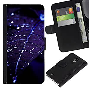 Planetar® Modelo colorido cuero carpeta tirón caso cubierta piel Holster Funda protección Para Samsung Galaxy S4 Mini i9190 (NOT S4) (NOT S4) ( Hoja gotitas de agua Blue Night Moonlight )