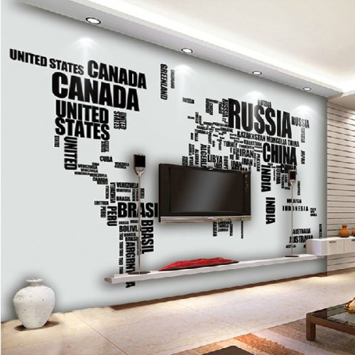 Large English Alphabet World Map Removable Wall Stickers Decal