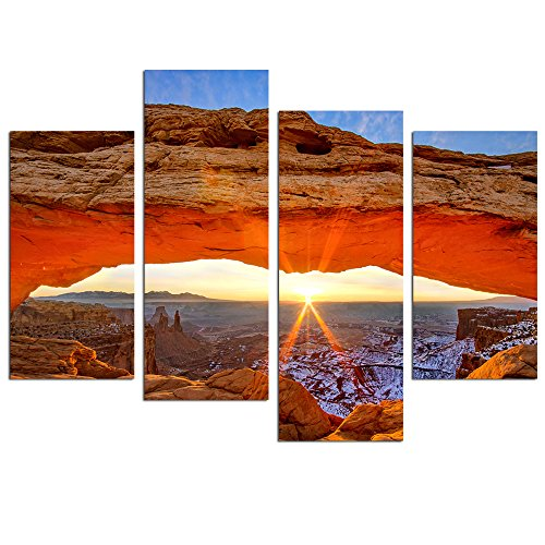 Live Art Decor-Sunrise Picture Canvas Print,National Park Famous Mesa Arch Canyon lands Beautiful Landscape Wall Art for Home Office Wall Decor,USA Scenery Canvas Art Framed - 48