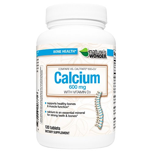 Nature's Wonder Calcium 600mg with Vitamin D3 800IU Tablets, 120 Count, Compare vs. Caltrate® 600 + D3