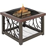 Best Choice Products Outdoor Cocktail Fire Pit Table Firepit Patio Garden Stove Fireplace