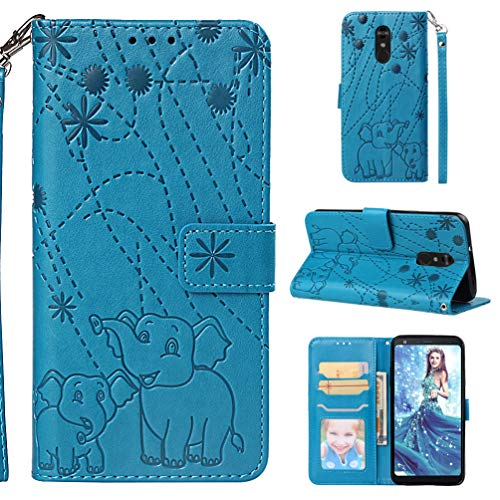 LG Stylo 4 Case LG Q Stylus Floral Elephants Wallet Case PU Leather Magnetic Flip Cover Shock Resistant Flexible Soft TPU Slim Protective Bumper with Card Slots Kickstand Lanyard for LG Stylus 4 Blue