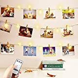 Photo Display - Warm White String Lights with Clips, 33ft 100 LED USB Fairy Lights & Twinkle Lights Battery Operated with Remote Control Timer Decorative lights for Christmas Card, Wall Hanging Decor