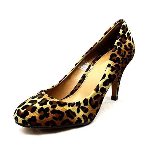 Damen runde Kappe niedrigen Ferse Pumps Leopard