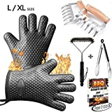 Silicone BBQ Gloves/Cooking Gloves Grilling Tool Accessories Set 6 Pcs - Heat Resistant Gloves, Meat Shredder Claws,Grill Brush,Barbecue Tongs,Free Recipes eBooks - Satisfaction Guarantee (L/XL)