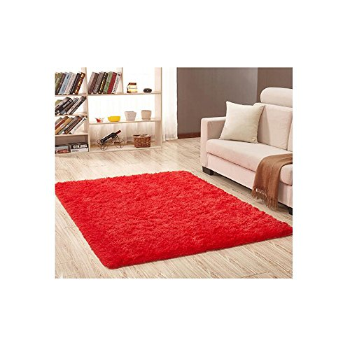 Shaggy Anti-skid Carpets Rugs Floor Mat/Cover 80*120cm (Red) - 6