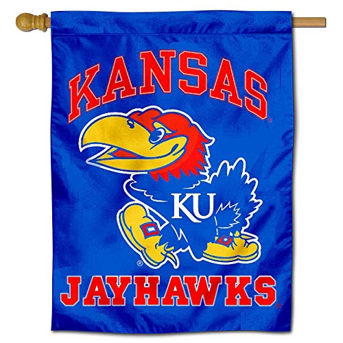 College Flags and Banners Co. Kansas KU Jayhawks Double Sided House Flag ()