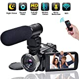 Video Camera WiFi Camcorder Comkes Full HD 1080P 30FPS Vlogging Camera 24MP 16X