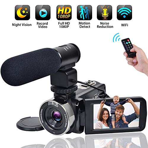Video Camera WiFi Camcorder Comkes Full HD 1080P 30FPS Vlogging Camera 24MP 16X Digital Zoom 3.0 Inch LCD Touch Screen IR Night Vision with External Microphone and Remote Control from Comkes