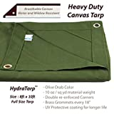 HydraTarp Canvas 8 Ft. X 10 Ft. Olive Drab Tarp - 10oz weight