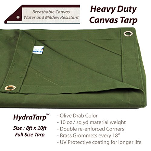 HydraTarp Canvas 8 Ft. X 10 Ft. Olive Drab Tarp - 10oz weight by Watershed Innovations