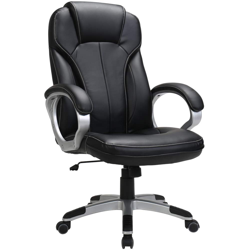 LasVillas Ergonomic PU Leather High Back Executive Office Chair with Adjustable Height, Computer Chair Desk Chair Task Chair Swivel Chair Guest Chair Reception Chairs ... (Black) by LasVillas (Image #1)