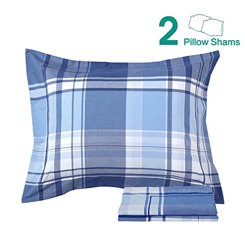 Blue Pillow Sham (NTBAY 100% Washed Cotton Woven Plaid Pillow Shams Set of 2, Queen Size, Blue)