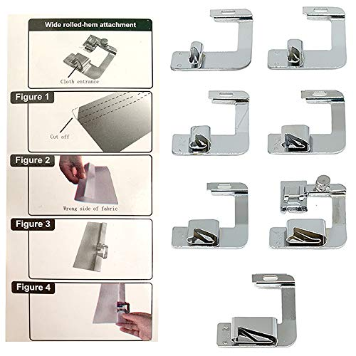 Rolled Hem Presser Foot Set 7pcs - Fits All Singer, Brother, Babylock, Janome, Kenmore Low Shank Sewing Machines (and More!)