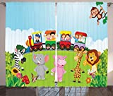 Ambesonne Cartoon Curtains, Kids Nursery Design Happy Children on a Choo Choo Train with Safari Animals Artwork, Living Room Bedroom Window Drapes 2 Panel Set, 108 W X 84 L Inches, Multicolor