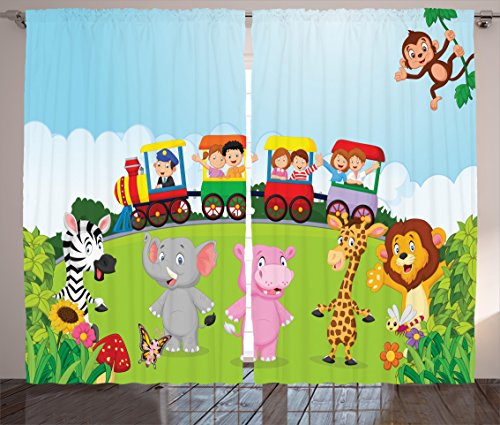 Ambesonne Cartoon Curtains, Kids Nursery Design Happy Children on a Choo Choo Train with Safari Animals Artwork, Living Room Bedroom Window Drapes 2 Panel Set, 108 W X 84 L Inches, Multicolor by Ambesonne