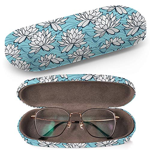 Hard Shell Glasses Protective Case with Cleaning Cloth for Eyeglasses and Sunglasses - Stylish Water Lily Ornament