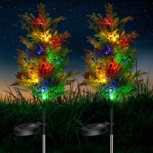 2PCs Solar Christmas Tree Lights Outdoor, LED Solar Garden Lights Multi-Color Flickering Pine Stake Lights for Patio, Courtyard, Lawn Decoration, IP65 Waterproof
