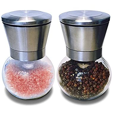 Premium Stainless Steel Salt and Pepper Ceramic Grinder Spice Mill Set of 2 - High Quality 6 Ounce Glass Body