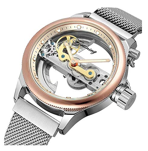 Unique Mens Automatic Watch Transparent Watch Dial Hollow Skeleton Silver Tone Mesh Band Watch (Rose Gold)