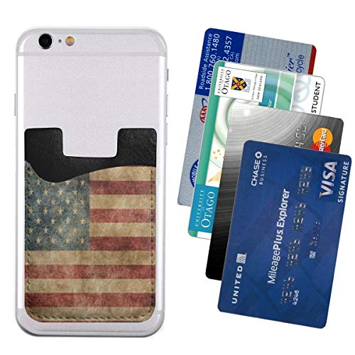 Cell Phone Card Holder,Vintage American Flag 4th July Independence Day Slim Back Phone Pocket for IPad