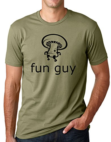Think Out Loud Apparel Funguy Funny Mushroom Tee Fun Guy T-Shirt Olive M (Fit Guy Pics)
