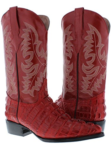 Team West - Men's Red Crocodile Tail Leather Cowboy Boots J Toe 9 2E US