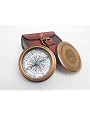 KHUMYAYAD Messing zakkompas antiek messing handgemaakt volledig functioneel kompas met lederen etui