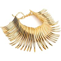Choker Statement Necklace, Sparkling Gold Tone Canine Shape Short Collares Necklace Women Fashion Jewelry
