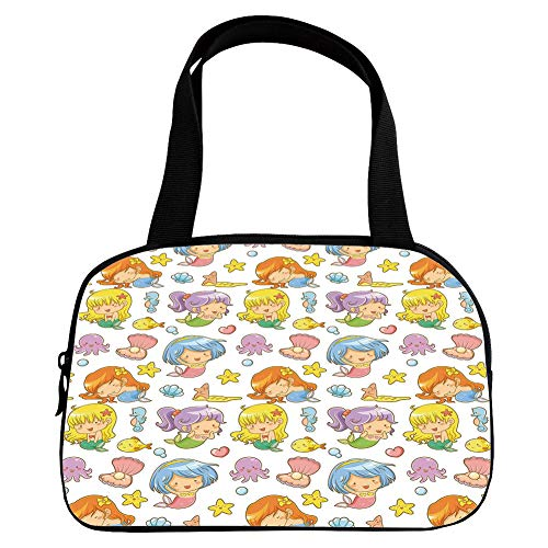 Polychromatic Optional Small Handbag Pink,Nursery,Collection of Adorable Kid Mermaids and Icons Fishes Shells Seastars Fantasy Fairy Decorative,Multicolor,for Girls,Print ()