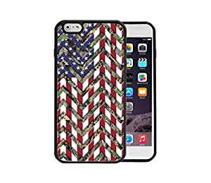 Camo Oak Trees Back U.S.A. Flag Chevron Pattern Red White & Blue Apple iPhone 6 Plus, 5.5 Rubber TPU Silicone Phone Case