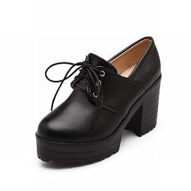 8761dc280aa Carolbar Women's Lace up Retro Vintage Fashion Platform High Chunky Heel  Ankle Boots