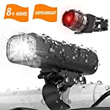 Updated 2019 Version USB Rechargeable Bike Light Set, Runtime 8+ Hours 400 Lumen Super Bright Headlight Front Lights and Free Back Rear LED,4 Light Mode Fits All Bicycles, Road, Mountain