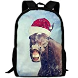 ZQBAAD A Horse With A Christmas Hat Luxury Print Men And Women's Travel Knapsack
