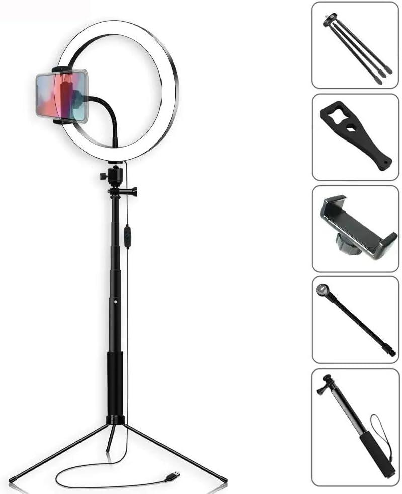 Color : White , Size : 26cm Tripod Stand Phone Holder Selfie Stick Video Light 26cm LED Ring Lamp with Phone Holder bluetooth Shutter Wrench for Youtube Tik Tok Live Streaming LED Ring Light Kit