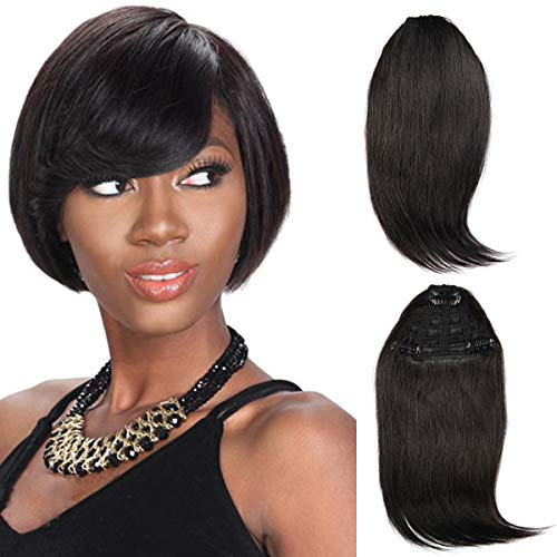 Brazilian virgin Human Hair clip in Bangs clip on Hair Extensions fringe Hair weave clip ins 8inch/20g Hairpieces (#1 bangs)
