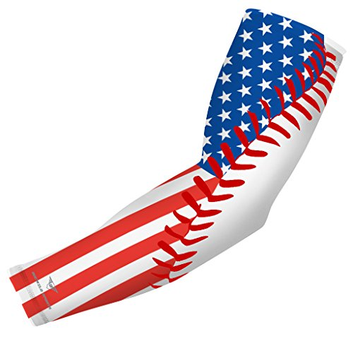 - USA Flag Baseball Stitch Sports Compression Arm Sleeve - Youth & Adult Sizes - Baseball Football Basketball Golf by Bucwild Sports (1 Sleeve - Adult Large)
