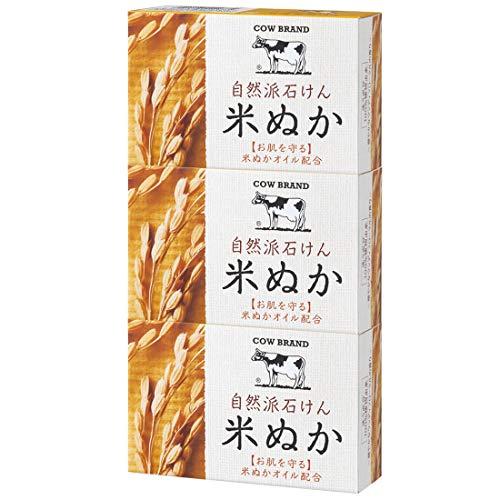 また明日ねしない申し立てカウブランド 自然派石けん 米ぬか 100g*3個