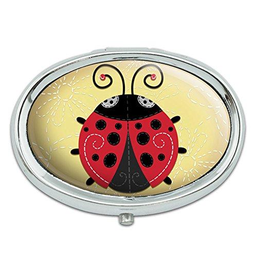 - Cute Ladybug Metal Oval Pill Case Box