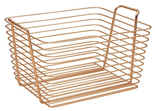 InterDesign Classico Wire Storage Organizing Basket with Handles, Large, Copper - Great storage for all around the home: bath, kitchen, closets, and more Features built-in handles for easy carrying Stores bath towels, soaps and shampoos, blankets, toys and more - living-room-decor, living-room, baskets-storage - 51xzsvTAWSL -