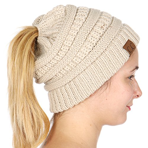 SERENITA C.C Unisex Classic Beanie Tail Solid Ponytail Cap Hat Beige