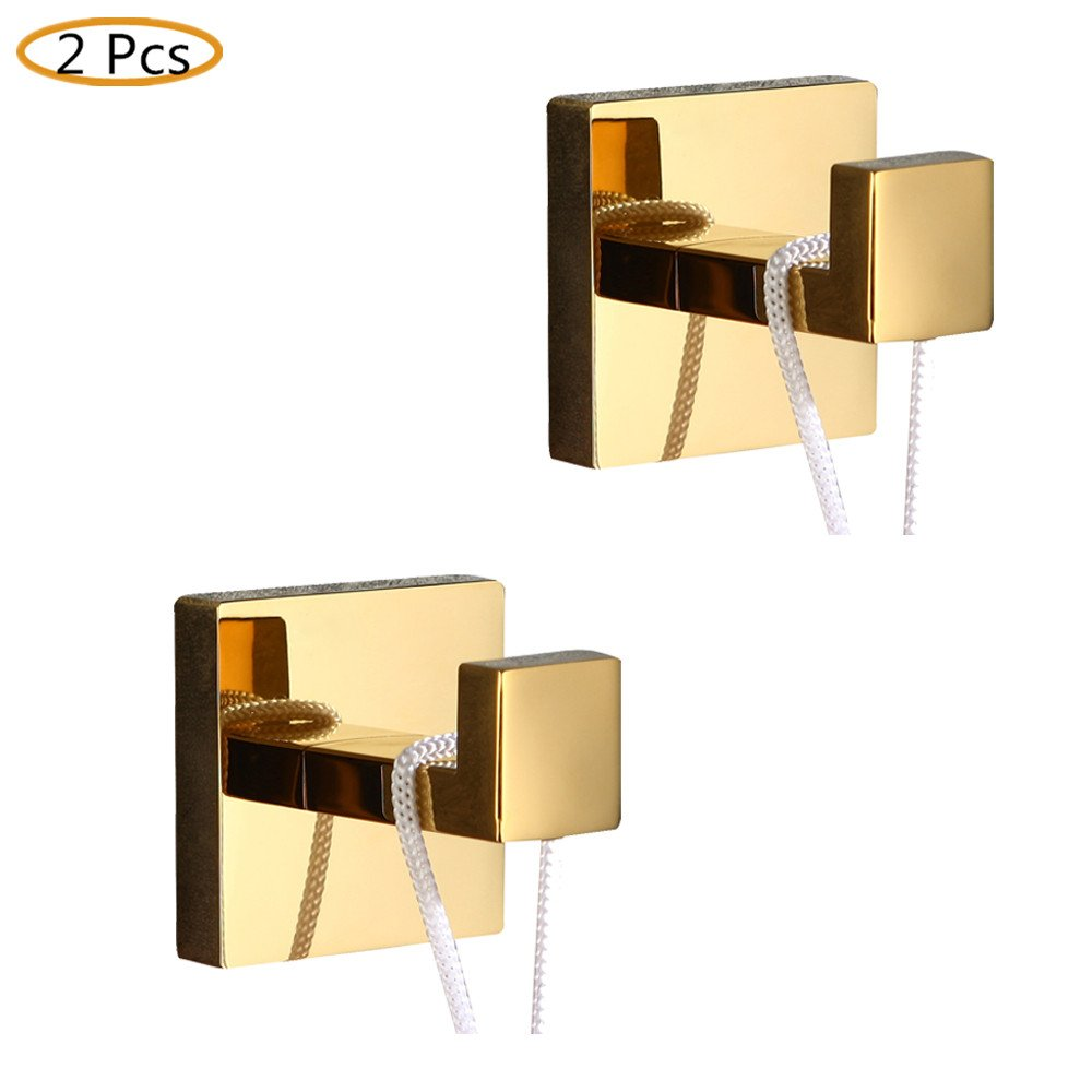 WINCASE 2 Pieces Robe Hook Towel Hook Clothes Hook Polished Gold finished, Wall Mounted Bathroom Accessories Solid Stainless Steel Construction