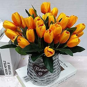 Artificial Flowers 4 Bundle PU Stunning Holland Tulip Flower Real Touch Artificial Silk Flowers Arrangement Bouquet Home Room Office Wedding Party Decor 50
