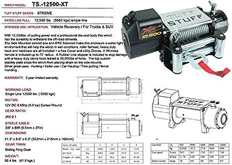 Amazon.com: Tuff Stuff Xtreme 12,500 lb. Cabrestante, impermeable, cable de  acero: Automotive   Tuff Stuff Led Wiring Diagram      Amazon.com