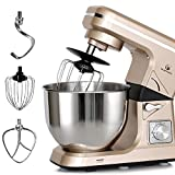 MURENKING Stand Mixer MK36 500W 6-Speed 5-Quart Stainless Steel Bowl, Tilt-Head Kitchen Electric Food Mixer with Three Attachments, Champagne