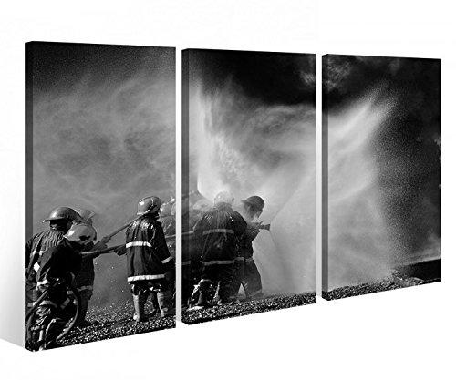 Leinwandbild 3 Tlg. Feuerwehr löscht Feuer Flammen Leinwand Bild Bilder Holz fertig gerahmt 9R748, 3 tlg BxH 120x80cm (3Stk 40x 80cm)