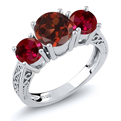 Gem Stone King 2.50 Ct Round Red Garnet Created Ruby 925 Sterling Silver 3-Stone Ring (Size 8)