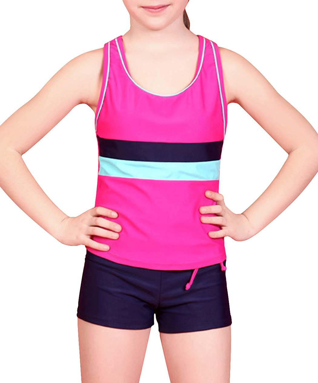 Kantenia Little Girls Two Piece Boyshort Tankini Kids Girl Swimsuit Summer Beach Bathing Suit Clothes
